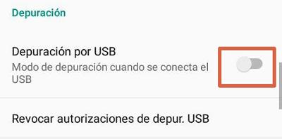 Activar modo depuración USB paso 5