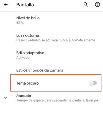 Activar modo oscuro en Android 10 paso 2