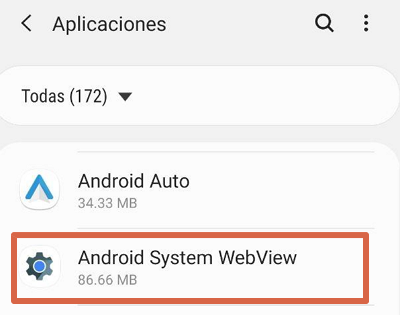 Cómo activar Android System Webview paso 2