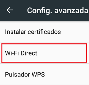 Cómo activar el Wifi Direct paso 5.