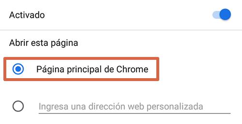 Cómo eliminar páginas que se abren solas en Google Chrome Android Página principal paso 4