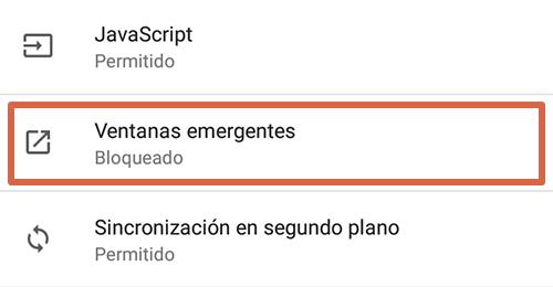 Cómo eliminar páginas que se abren solas en Google Chrome Android desactivando las ventanas emergentes paso 4