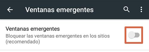 Cómo eliminar páginas que se abren solas en Google Chrome Android desactivando las ventanas emergentes paso 5