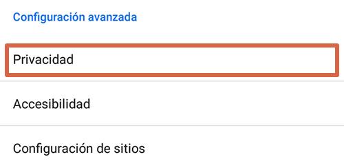 Cómo eliminar páginas que se abren solas en Google Chrome Android limpiando los datos de navegación paso 3