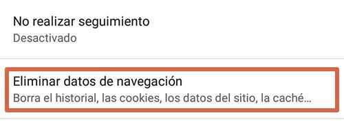 Cómo eliminar páginas que se abren solas en Google Chrome Android limpiando los datos de navegación paso 4