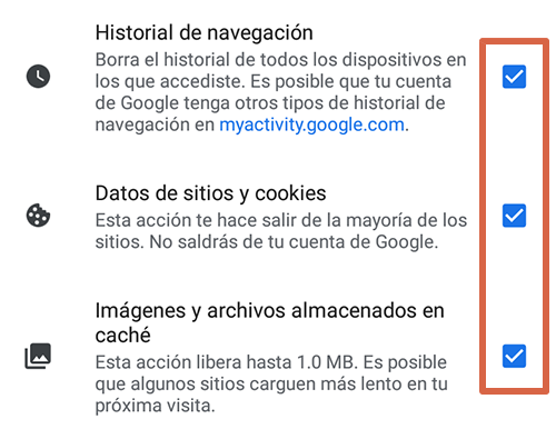 Cómo eliminar páginas que se abren solas en Google Chrome Android limpiando los datos de navegación paso 5