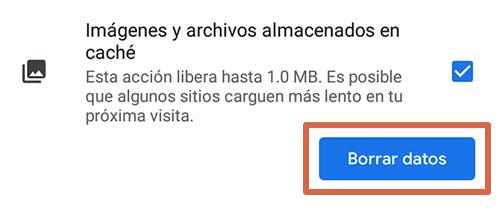 Cómo eliminar páginas que se abren solas en Google Chrome Android limpiando los datos de navegación paso 6