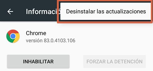 Cómo eliminar páginas que se abren solas en Google Chrome Android reinstalando las actualizaciones de Chrome paso 8