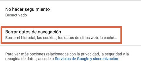 Cómo liberar espacio en Android borrando datos del navegador paso 4