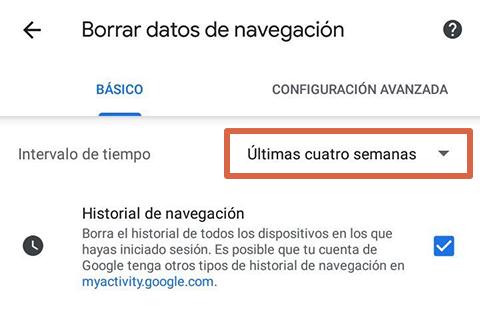Cómo liberar espacio en Android borrando datos del navegador paso 5