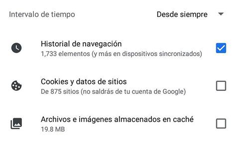 Cómo liberar espacio en Android borrando datos del navegador paso 6