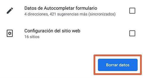 Cómo liberar espacio en Android borrando datos del navegador paso 7