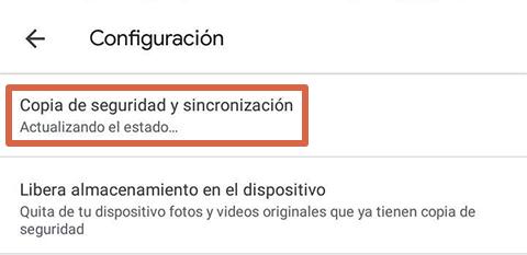 Cómo liberar espacio en Android subiendo imágenes a Google Fotos paso 2