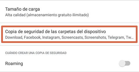 Cómo liberar espacio en Android subiendo imágenes a Google Fotos paso 3