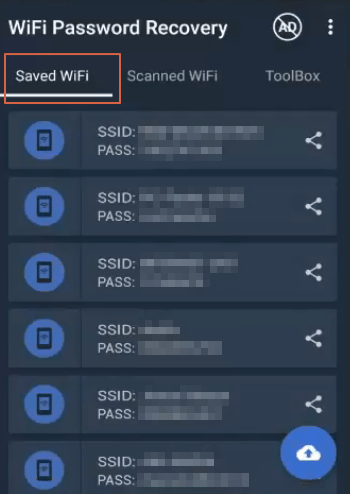 Cómo ver claves Wi-Fi guardadas en Android con Wifi Password Recovery paso 2