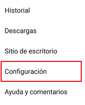 Cambiar la carpeta de descargas en Android desde Google Chrome paso 2.
