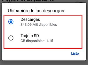 Cambiar la carpeta de descargas en Android desde Google Chrome paso 5.