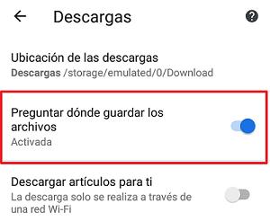 Configuración para escoger dónde guardar un archivo antes de descargarlo paso 4.
