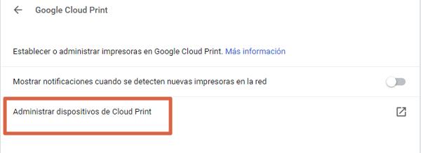 Configurar impresora en Cloud Print paso 7