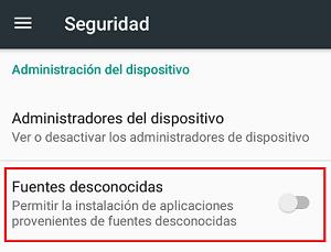 Desactivar descargas de fuentes desconocidas paso 3