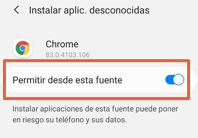 Descargar aplicaciones de origenes desconocidos Android 8.0, 9.0 y 10.0 paso 4