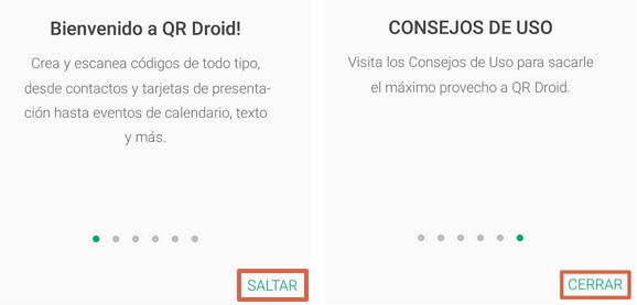 Escanear código QR con QR Droid Code Scanner paso 1