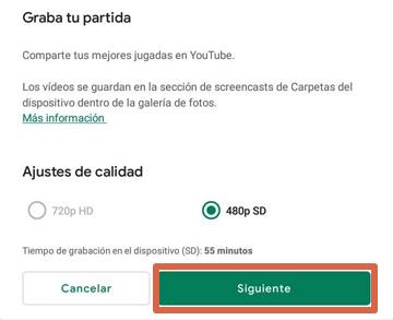 Grabar pantalla con Google Play Juegos paso 4