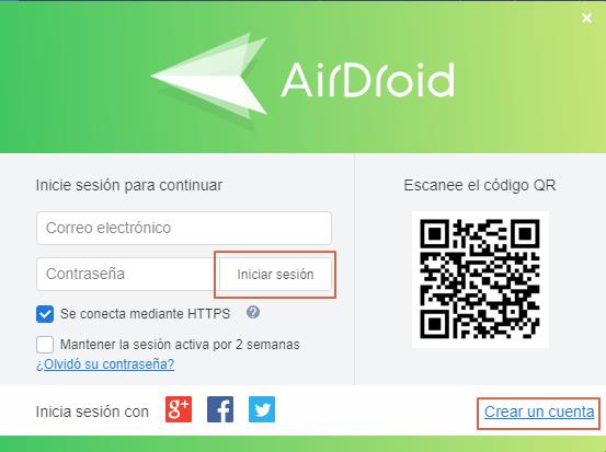 Transferir archivos desde Android al ordenador con AirDroid paso 1