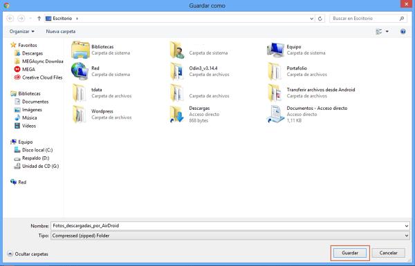 Transferir archivos desde Android al ordenador con AirDroid paso 4