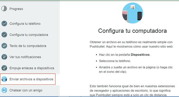 Transferir archivos desde Android al ordenador con PushBullet paso 4