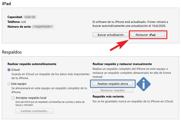 restaurar datos del ipad icloud