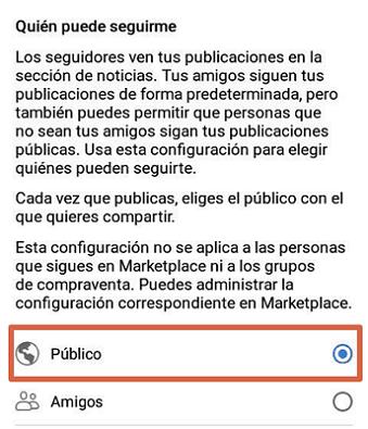 Activar seguidores en la app de Facebook paso 5