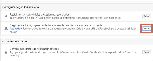 Cómo configurar los contactos de confianza en Facebook paso 5
