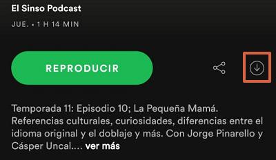 Cómo descargar podcasts en Spotify desde el teléfono paso 5