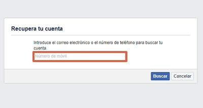 Cómo recuperar una cuenta de Facebook con el número telefónico paso 2