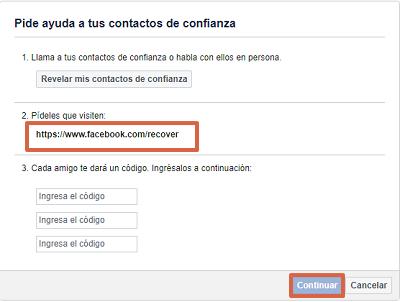 Cómo recuperar una cuenta de Facebook con los contactos de confianza paso 5