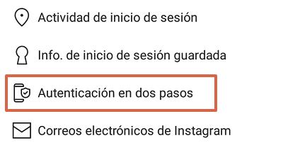 Cómo configurar la autenticación en dos pasos en Instagram desde el teléfono paso 4