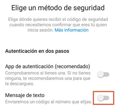 Cómo configurar la autenticación en dos pasos en Instagram desde el teléfono paso 8