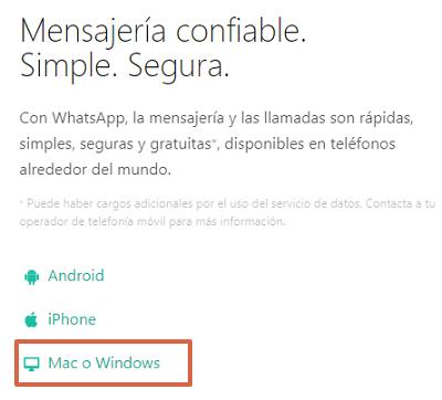 Cómo descargar e instalar WhatsApp para PC desde el navegador paso 1