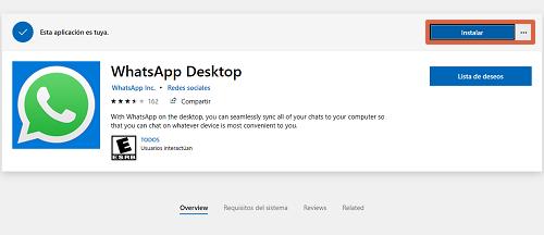 Cómo descargar e instalar WhatsApp para PC desde la tienda de Microsoft paso 2