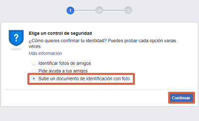 Cómo recuperar cuenta de Facebook con un documento de identidad paso 4