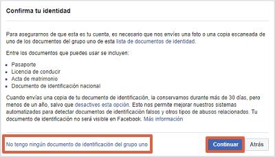 Cómo recuperar cuenta de Facebook con un documento de identidad paso 5