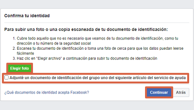 Cómo recuperar cuenta de Facebook con un documento de identidad paso 7