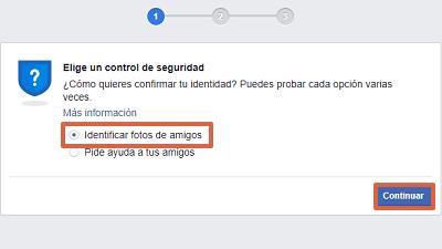 Cómo recuperar cuenta de Facebook identificando fotos de tus amigos paso 2