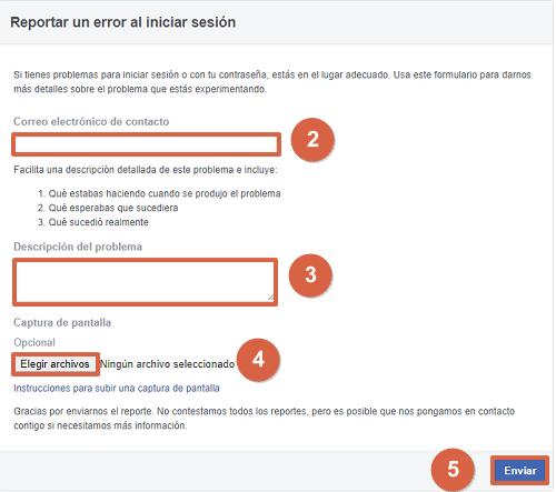 Cómo reportar error en inicio de sesión de Facebook