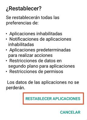 Cómo solucionar el mensaje de error com.google.process.gapps restableciendo preferencias de las aplicaciones paso 3.