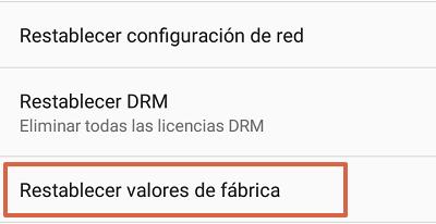 Cómo solucionar el mensaje de error com.google.process.gapps restableciendo valores de fábrica paso 2