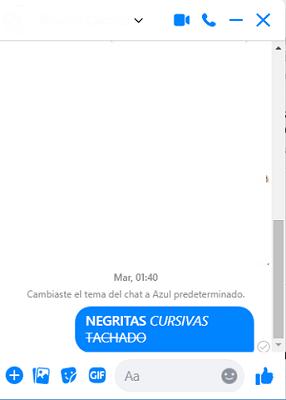 Cómo usar negritas y cursivas en Messenger de Facebook desde la PC.