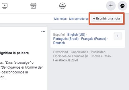 Cómo usar negritas y cursivas en notas de Facebook paso 2