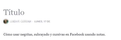 Cómo usar negritas y cursivas en notas de Facebook paso 3